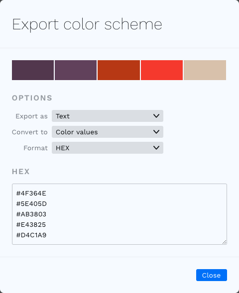 Export colors dialog
